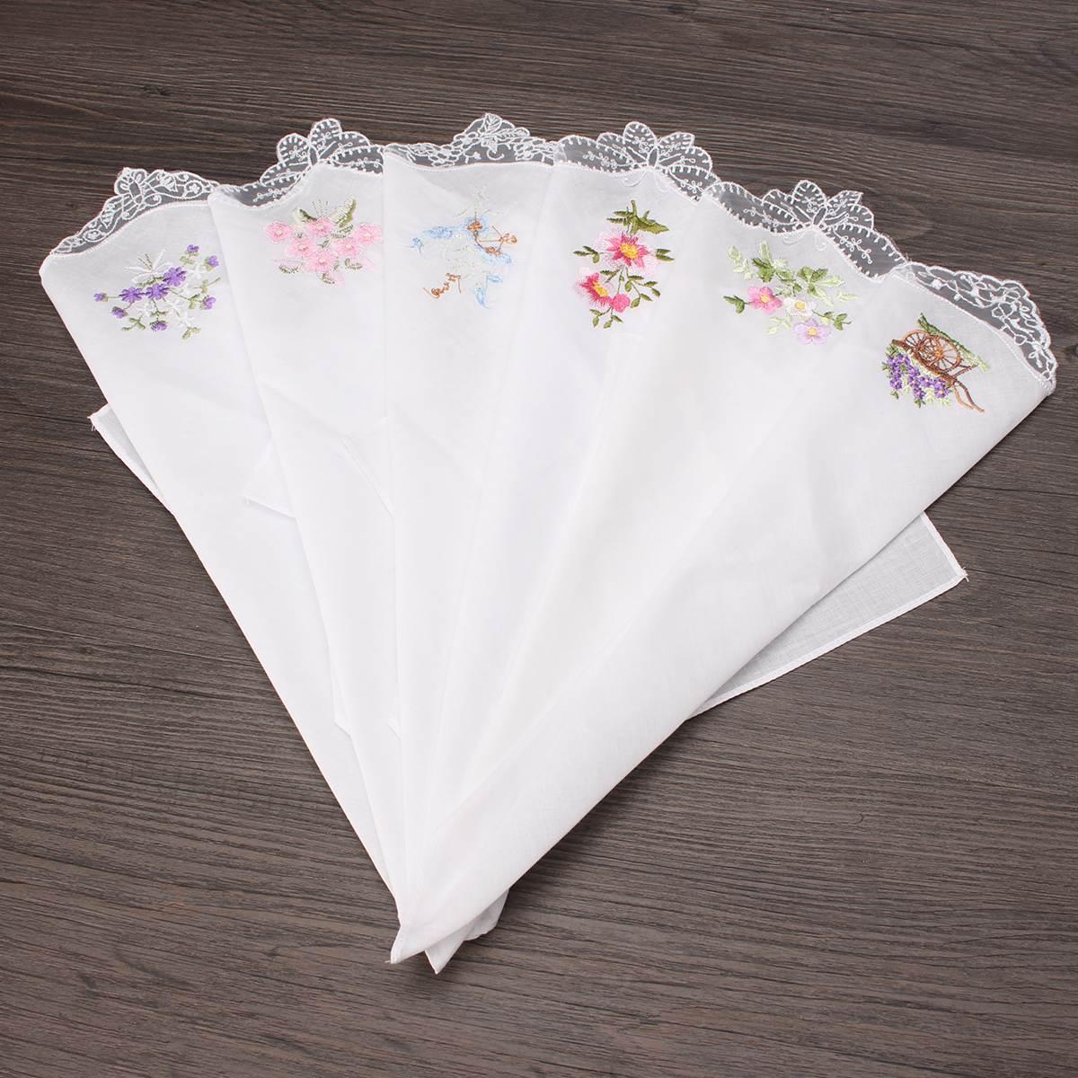 6 Pcs/lot 100% Cotton Flower Handkerchiefs For Women 28*28cm Napkin Embroidered Floral Wash Hand Square Towels Ladies Lace Hanky