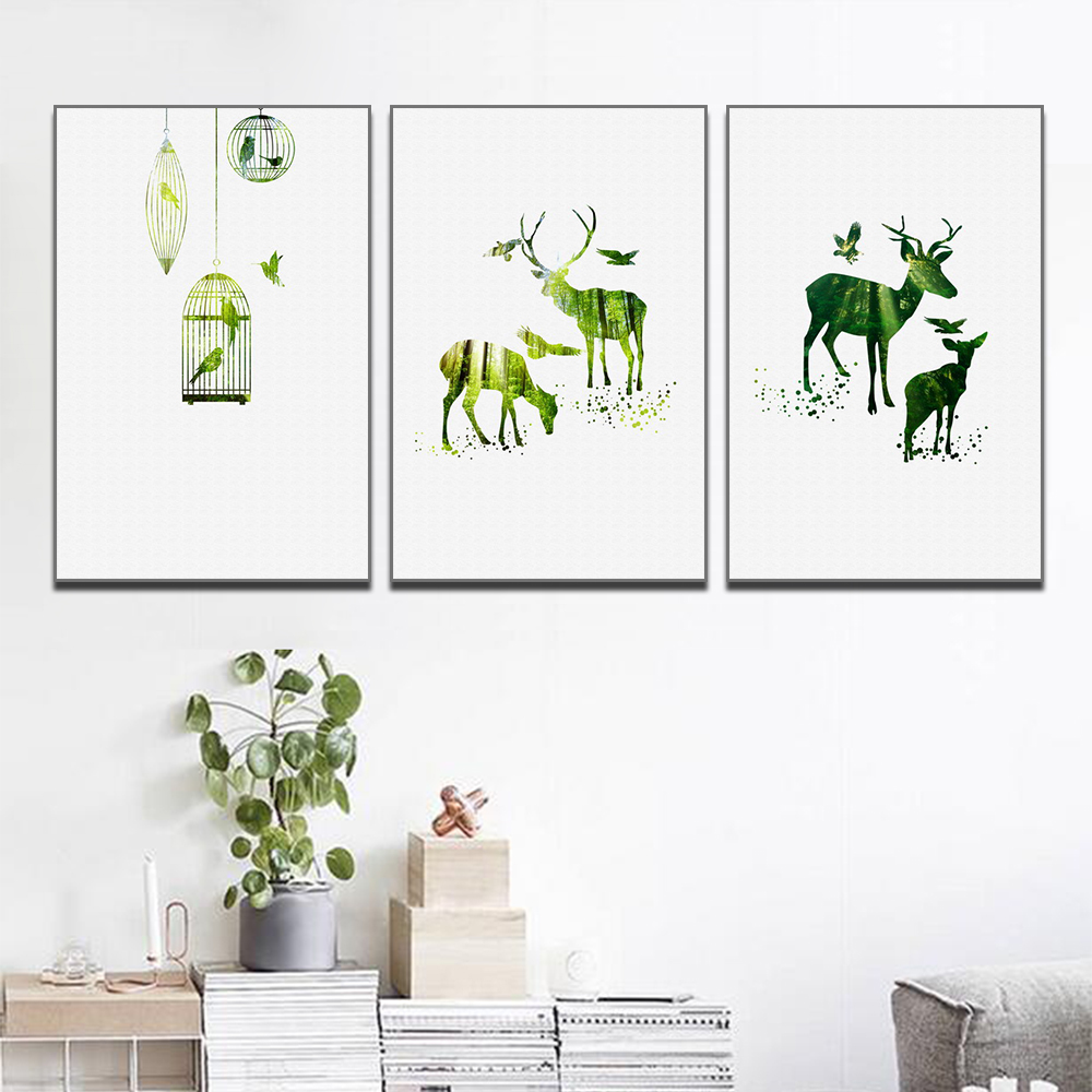 Unframed 3 HD Canvas Painting Animal Art Painting Forest Elk And Bird For Living Room Mural Printing Poster Free Shipping