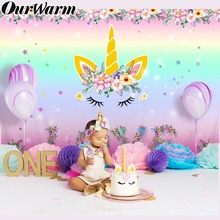 OurWarm Unicorn Party Backdrop Photo Baby Shower Rainbow Birthday Themed DIY Decorations 210*150cm