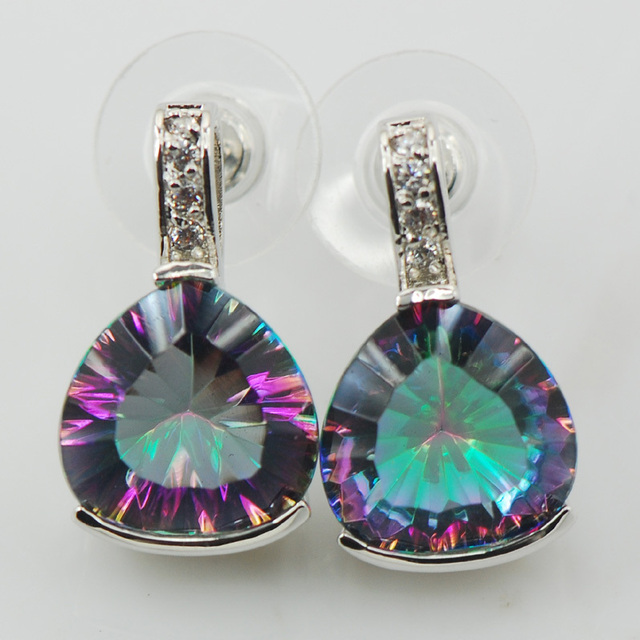 New Rainbow Simulated Topaz Woman 925 Sterling Silver Crystal Earrings TE531