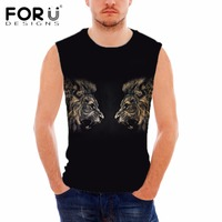 FORUDESIGNS 3D Cool Animal Lion Printing Men S Tank Top Summer Sleeveless Bodybuilding Fitness Man Brand