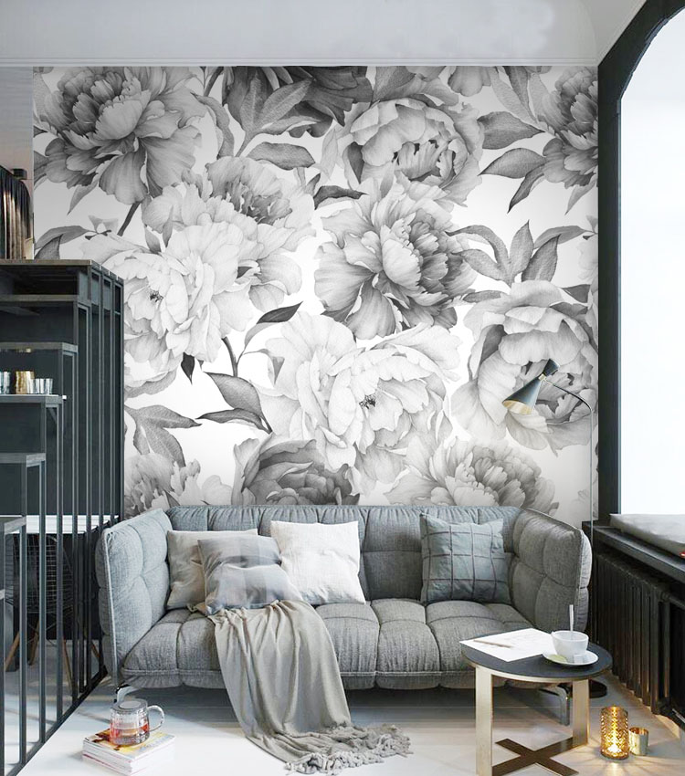 Grey black and white floral custom 3D wall paper mural on the wall wholesale for office living room meeting room the custom 3d murals the new york times center building street black and white living room sofa tv wall bedroom wall paper