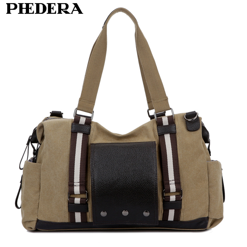 Phedera High Quality Canvas Handbags Men and Women Travel Duffle Bag Large Casual Khaki Black Coffee Shoulder Bags