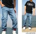 Hombres Hiphop Baggy Jeans Tallas grandes Ropa Lavada Mens Luz Azul Denim Pants Spliced Diseño Hip Hop Pantalones Vaqueros Flojos Streetwear