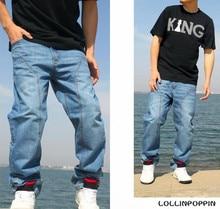 Men Hiphop Baggy Jeans Plus Size Garment Washed Mens Light Blue Denim Pants Spliced Design Hip