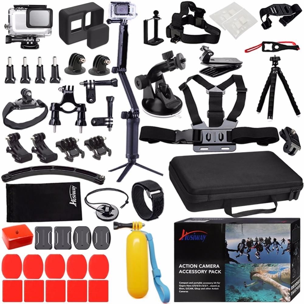 Husiway Accessoires Kit pour Gopro Hero 7 Hero 6 5 Noir boîtier étanche coque en silicone Écran protection de lentille 57A