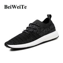 BeiWeiTe verano de los hombres transpirables negro zapatillas de gran tamaño Trail Walking turista deporte zapatilla de deporte hombres soft trainer zapatos al aire libre