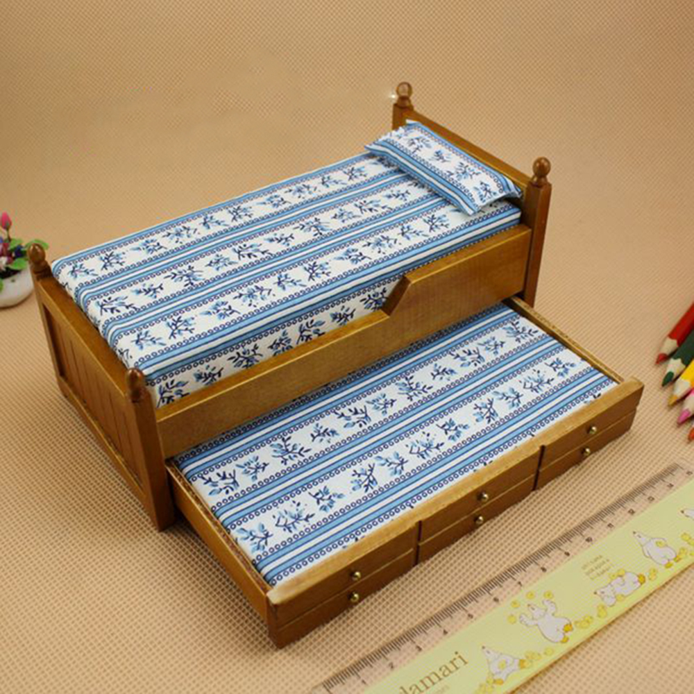 1:12 Dollhouse Furniture toy Wooden bed brown & white bed model for dolls simulation bedroom pretend play toys for girls kids