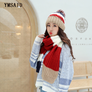 Image 4 - Женские шапки 2018, осенне зимние модные брендовые шапки, шарф, вязаный Двухсекционный женский шарф, повседневный длинный шарф Chapeu Feminino Bone