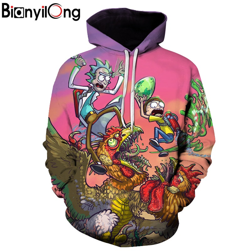 2018 New Hooded 3D Printed Rick and Morty Hoodie Anime Fans Hoodies Men Streetwear Sweat Homme Rick and Morty Sweatshirt