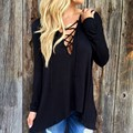 Sexy Hollow out Strappy Front Women Plus Size Lace Up Casual long Sleeve Shirt Women  hooded Lady Tops