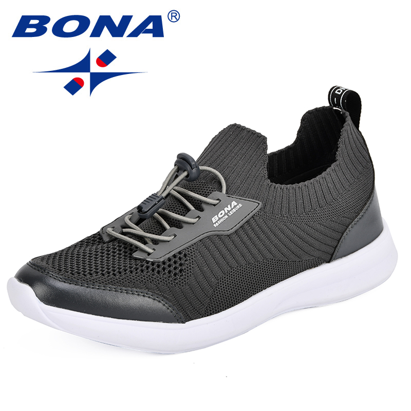 $31.01 BONA Men's Shoes Autumn Breathable Shoes Korean Version Trendy England Outdoor Running Shoes Fly-Knit Weaving Men Sports Shoes