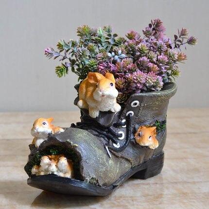 Outdoor binnentuin creatieve cartoon eekhoorn schoenen, bloempotten, balkon home decoratie, tuin decoratie-in Figuren & Miniaturen van Huis & Tuin op  Groep 2