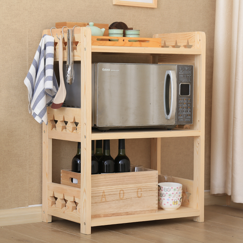 Kitchen shelf solid wood multi-layer floor microwave oven oven shelf wooden storage shelf simple electrical storage cabinet