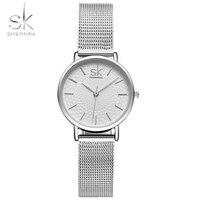 Shengke Brand Wristwatches Women Stainless Steel Band Relogio Feminino Women Dress Watches Women Quartz Watch Fashion