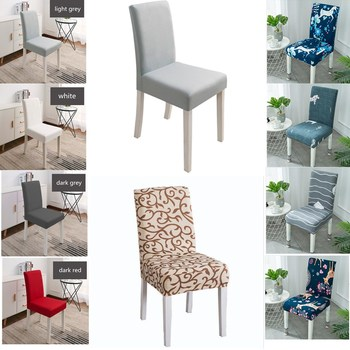 Chair Cover Spandex Stretch Elastic Slipcovers Stretch Chair Covers For Dining Room Kitchen Wedding Banquet Hotel christmas chair covers elk print removable chair cover stretch elastic slipcovers dining banquet chair covers spandex home decor
