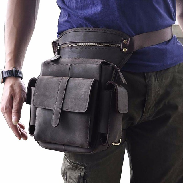 11aaf6418be6 Crazy Horse Oil Wax Genuine Leather Thigh Drop Leg Bag Men Military  Motorcycle Messenger Hip Belt Fanny Pack Male Waist Bags New
