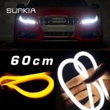 60CM Flexible LED Daytime Running Light DRL Strip Amber Light Bar Light Switchback DRL Free Shipping