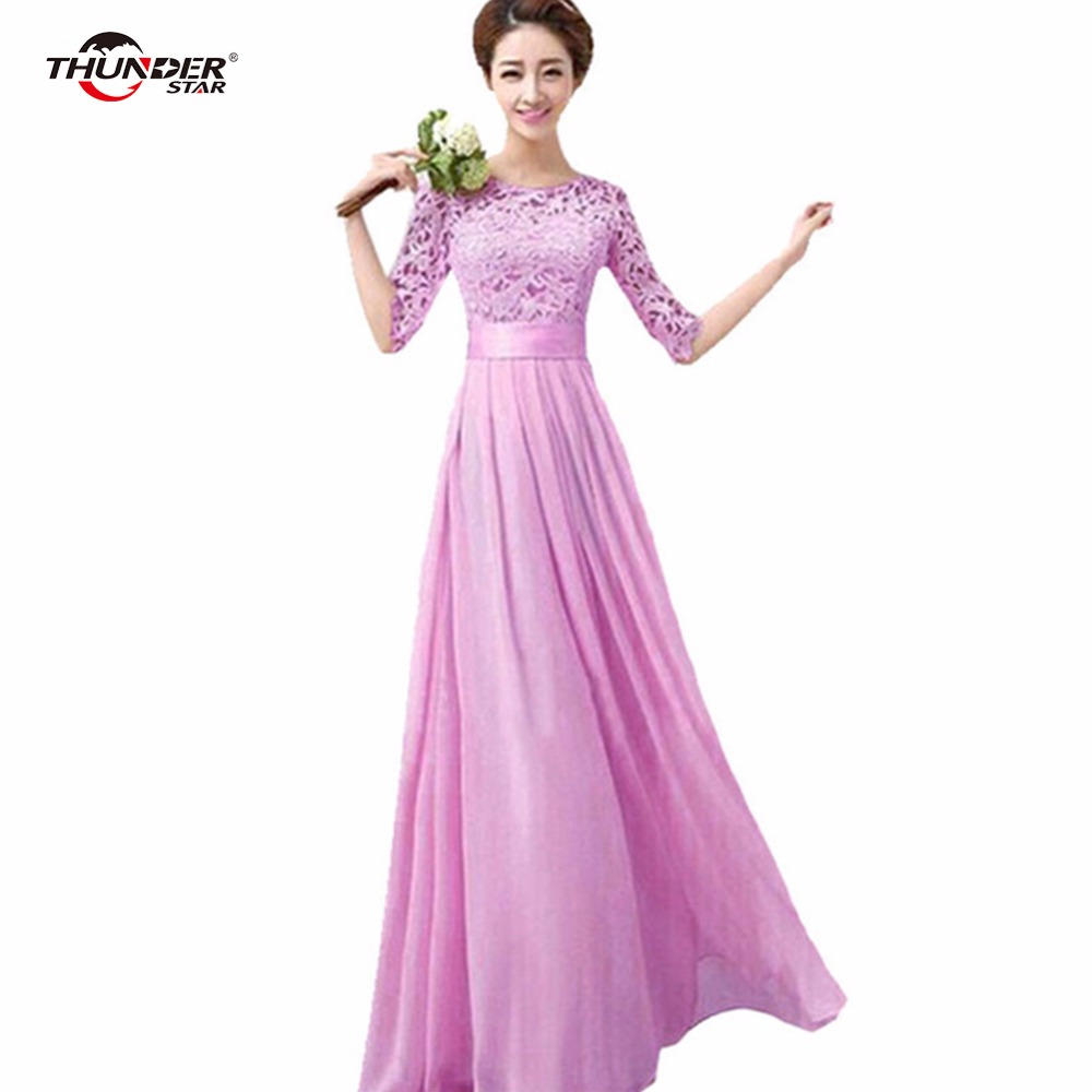 Women 39 s pink maxi long dress chiffon half sleeve lace for Maxi dresses for wedding party