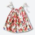 Verano nuevo vestido de tirantes de algodón, marca niño vestido de princesa honda, niñas bebés vestido de gasa fina (9-24 meses)