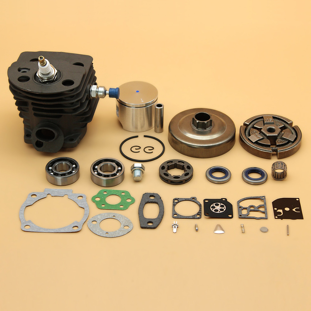 46mm Cylinder Piston Bearing Gasket w/ 3/8-7T Clutch Drum Carb Kit Fit HUSQVARNA 55, 55 Rancher 51 Chainsaw Engine Parts 5 set carburetor carb repair gasket kit for husqvarna 50 51 55 chainsaw parts