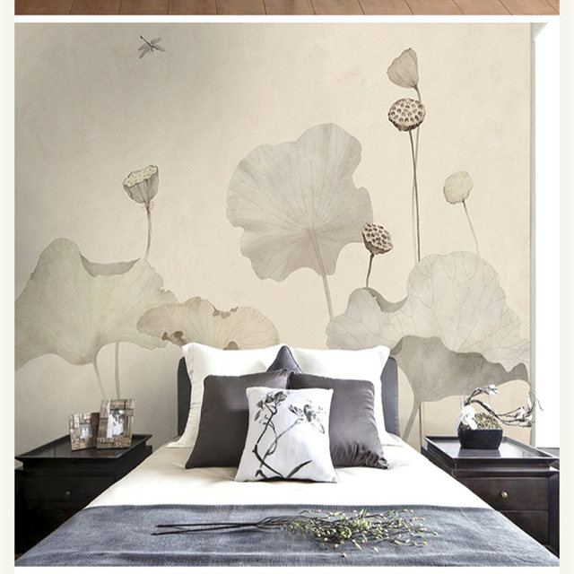 Lotus Leaf Chinese Style Classical Zen Wallpaper Seamless Customization Of Large ZMH Murals