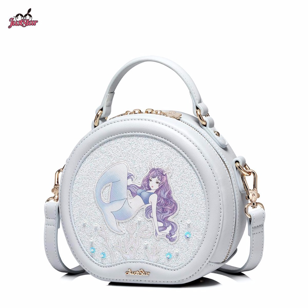 Just Star Brand New Design Fashion Mermaid Printing PU Leather Women Handbag Girls Shoulder Bag Cross body Small Round Bag just star brand new design fashion mermaid printing pu leather women ladies handbag girls shoulder bag cross body boston bag