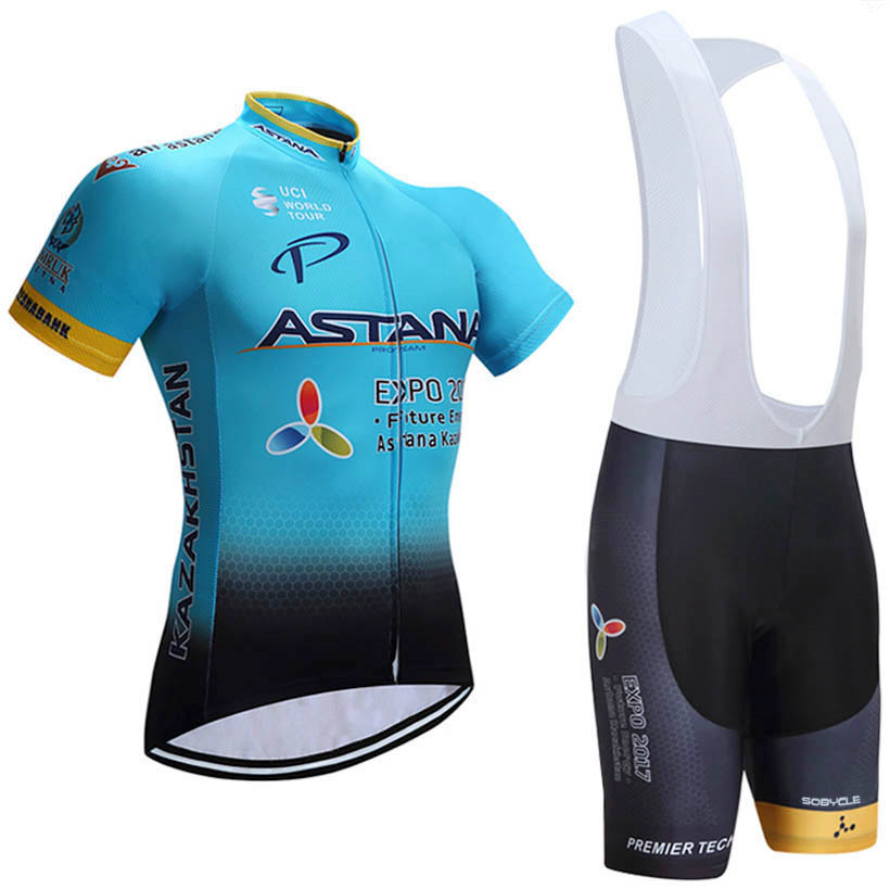 BLUE Astana Cycling Team Jersey 9D Bike Shorts Set Quick Dry Mens Bicycle Clothes Team Pro BIKE Maillot Culotte