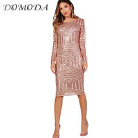 DOMODA Women Sequins Dress Bodycon Sexy Vestidos Female Long Sleeve Fitness Dresses Hollow Out Backless Clothing 2018 New
