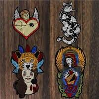 Gupid Arrove-pegatinas de gato, corazón, Ángel, Padre, Dios, belleza, niña, Leopars, Iron on, parches para ropa, insignia de camiseta, 1 ud.