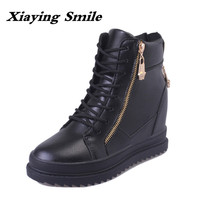 Xiaying Smile Winter British Style Women Boots Antieskid Ankle Boots Round Toe Zipper Shoes Fashion Warm