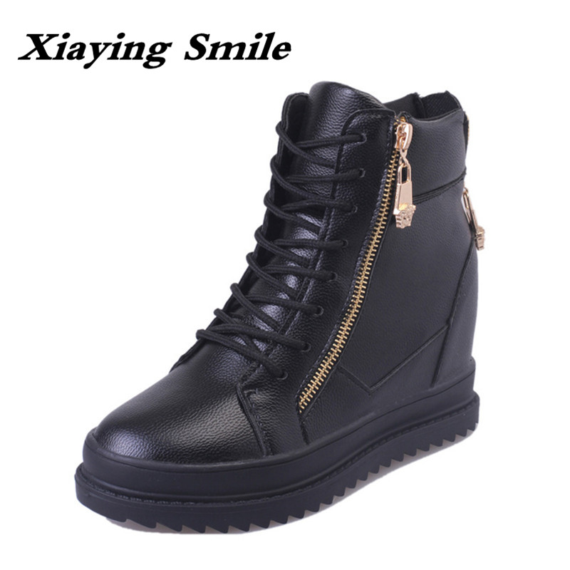 Xiaying Smile Winter British Style Women Boots Antieskid Ankle Boots Round Toe Zipper Shoes Fashion Warm Square Flat Boots