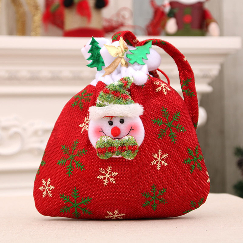 Christmas Santa Claus Gift Holders Snowman Elk Cloth Christmas Candy Packaging Bag Kids Outdoor Christmas Candy Decoration #T