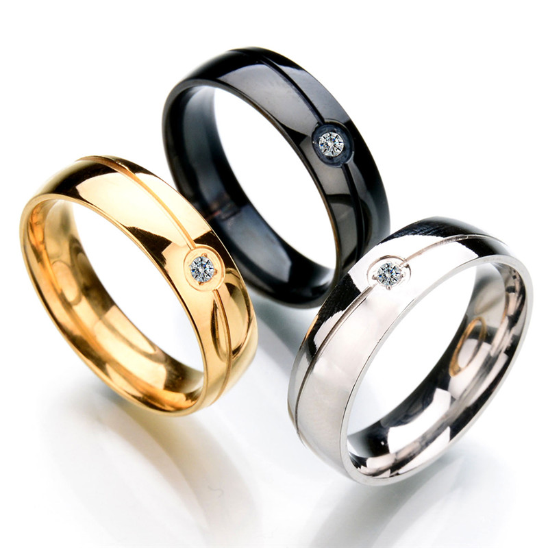 Top quality never fade 316l stainless steel cz stone for Best quality wedding rings