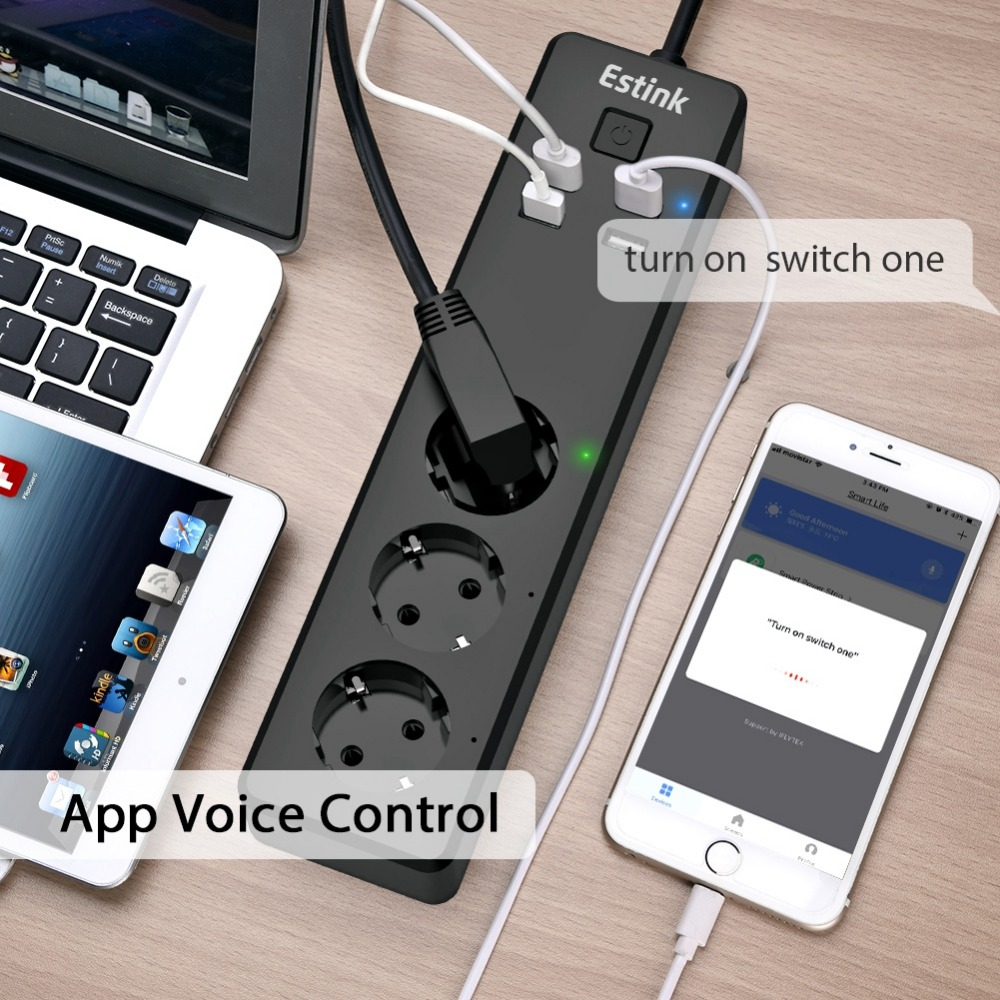 4 USB Ports Smart Sub-control EU Plug WiFi Smart Power Strip APP Voice Control High Temperature Over-current Protection Socket