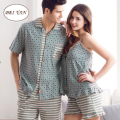 Couples 100% Cotton Pajamas Women or Men's Short-sleeved Cotton Household Suits
