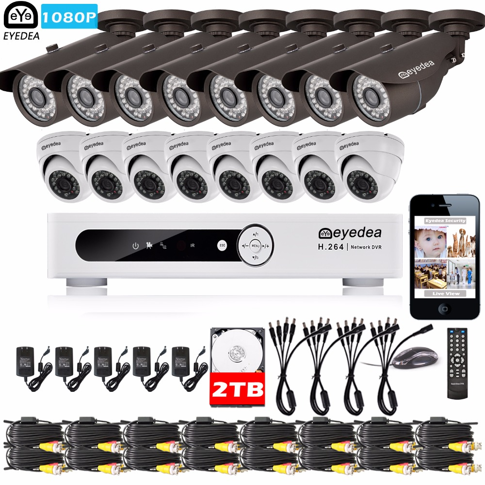 Eyedea 16 CH DVR Video Recorder 1080P Bullet Dome Outdoor CMOS LED Night Vision CCTV Security Camera Surveillance System 2TB Kit eyedea 16ch video dvr recorder hd 1080p bullet black outdoor cmos night vision business cctv security camera surveillance system