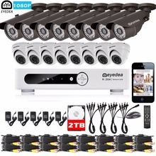 Eyedea 16 CH DVR Video Recorder 1080P Bullet Dome Outdoor CMOS LED Night Vision CCTV Security Camera Surveillance System 2TB Kit