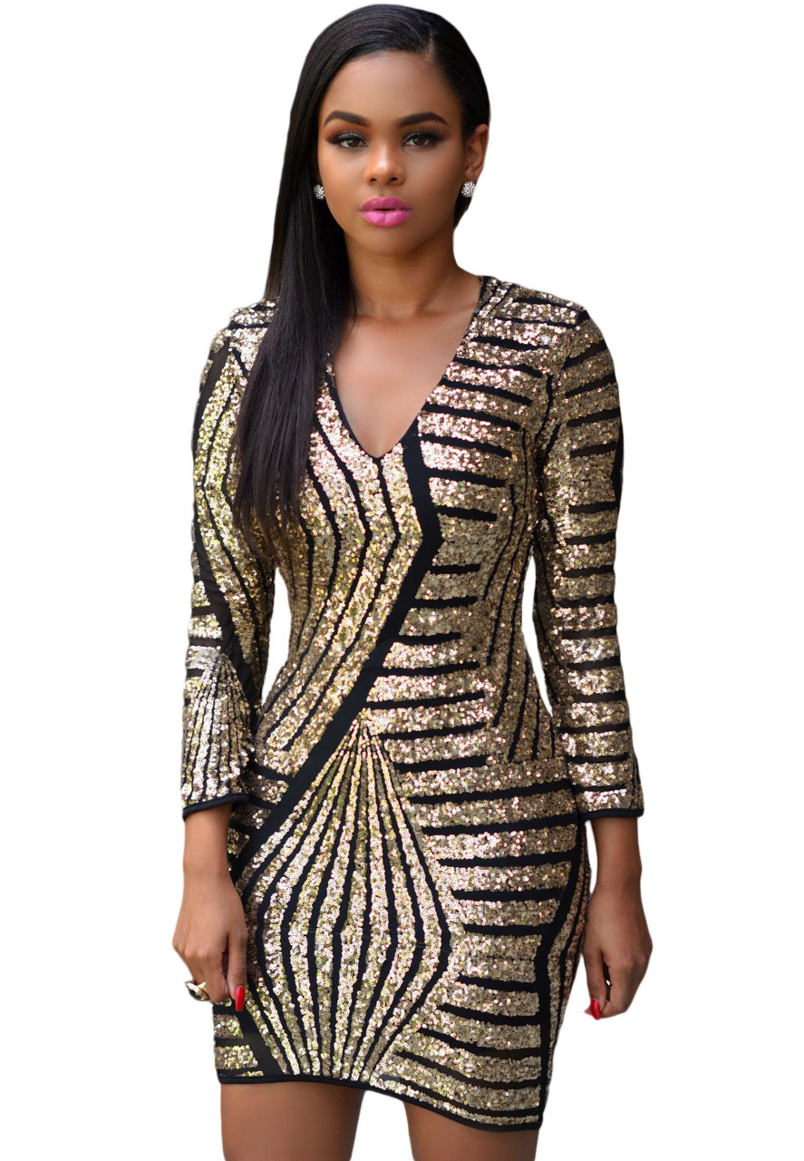 e5bdc98e256 New 2016 Womens Short Party Dresses Sexy V Neck Long Sleeve Gold Sequin  Dress Ladies Casual Slim Bodycon Mini Club Dress Q22575