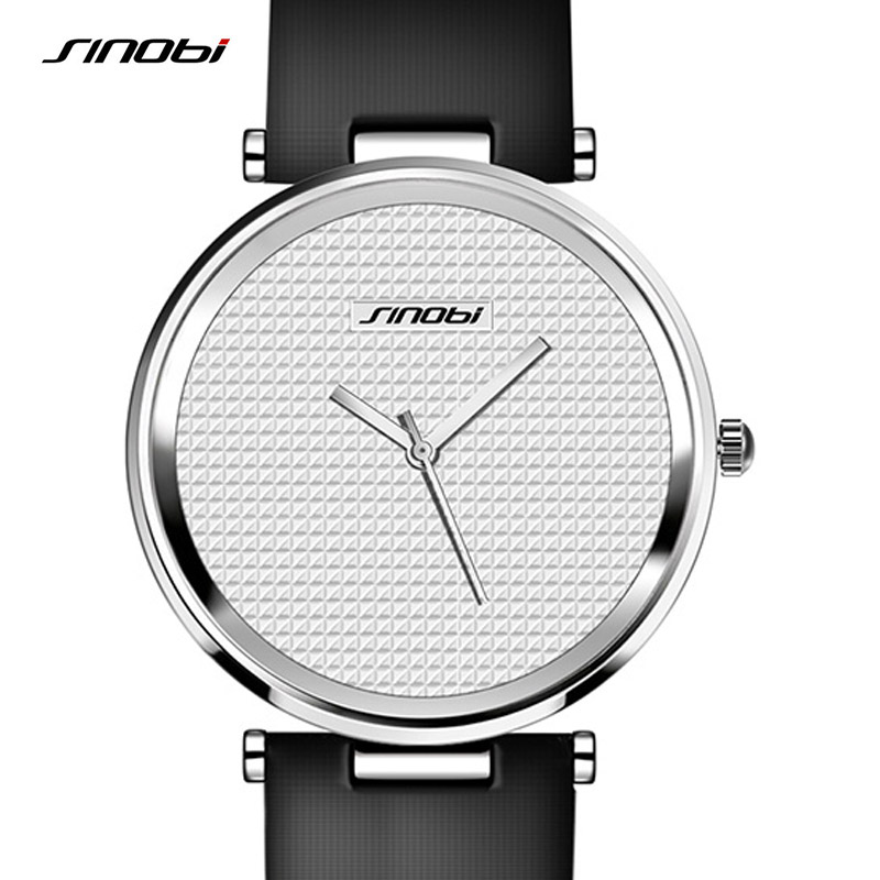 Minimalist Women Watch Ultrathin Analog Leather Strap Black SINOBI Top Brand Slim Fashion Casual Ladies Quartz Clock Watches New