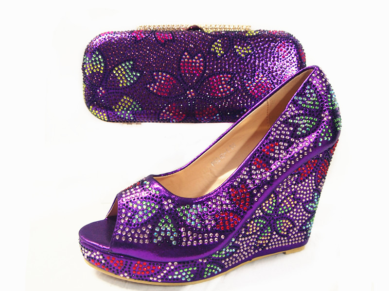 ФОТО Purple Color High Heels Women Shoes African Shoe and Matching Bags Italian African Wedding Shoe and Bag Sets Women Party JUNE02