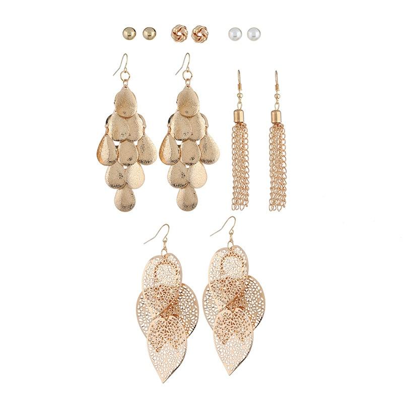 6 Paare/satz Mode Schmuck Einfache Multi-schicht Hohl Legierung Kette Baumeln Ohrringe Perle Perlen Stud Ohrring Für Frauen Schmuck Set Schmuck & Zubehör
