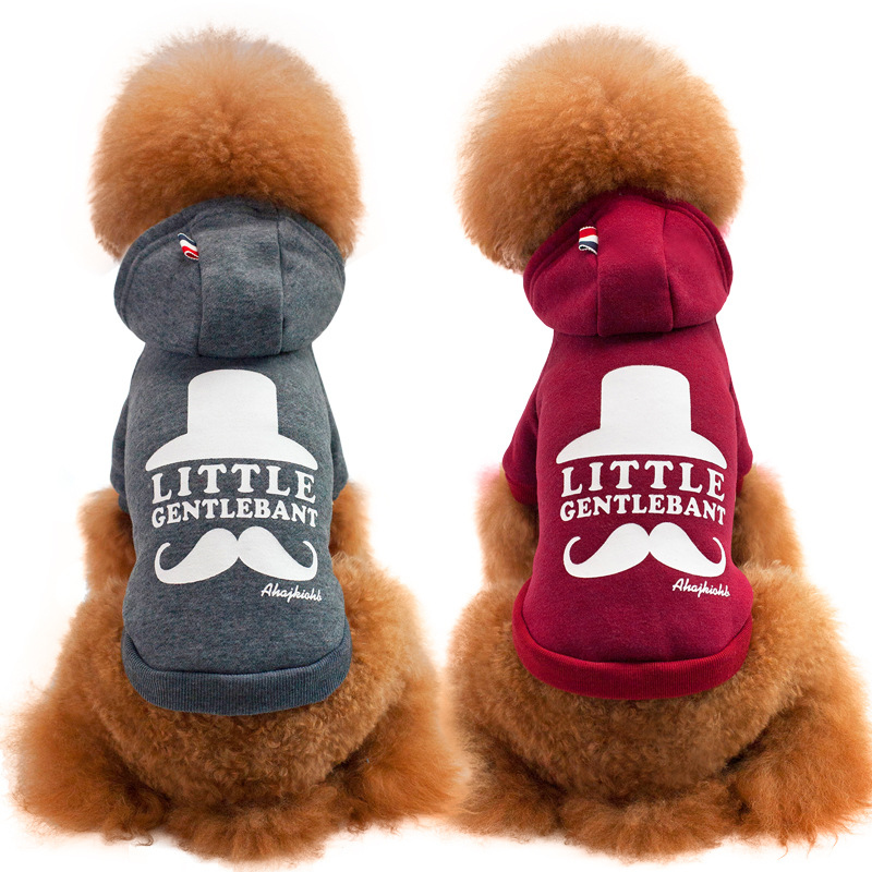 Winter Warm Mustache Printed Dog Clothes for Small Dogs Pet Clothing Hooded Puppy Jacket Coat Sportwear Costumes Supplies