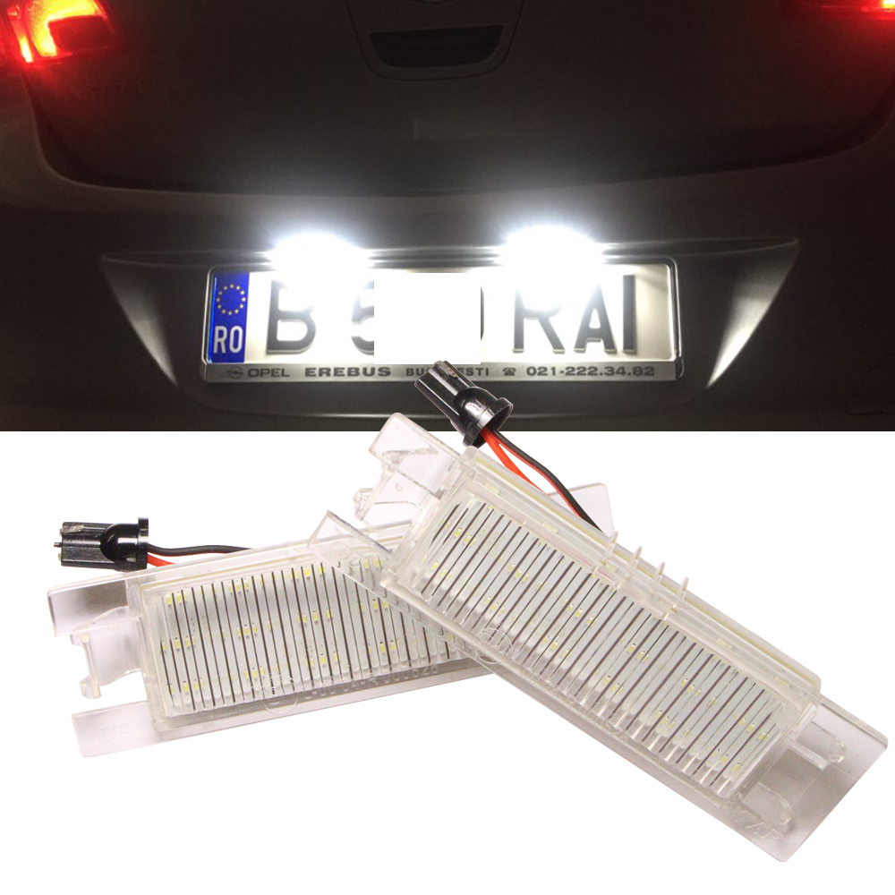 2pcs 12V SMD 3528 White Light 18 LEDs License Plate Light Lamp for Vauxhall Opel Astra Corsa D Astra H Zafira B Canbus No Error 18 smd led number license plate light module for opel vauxhall astra j sports tourer estate zafira tourer c