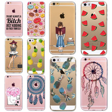 Thin Soft TPU Silicon Transparent Fruits DREAM CATCHER lovly girl Case Cover For Apple iPhone 5