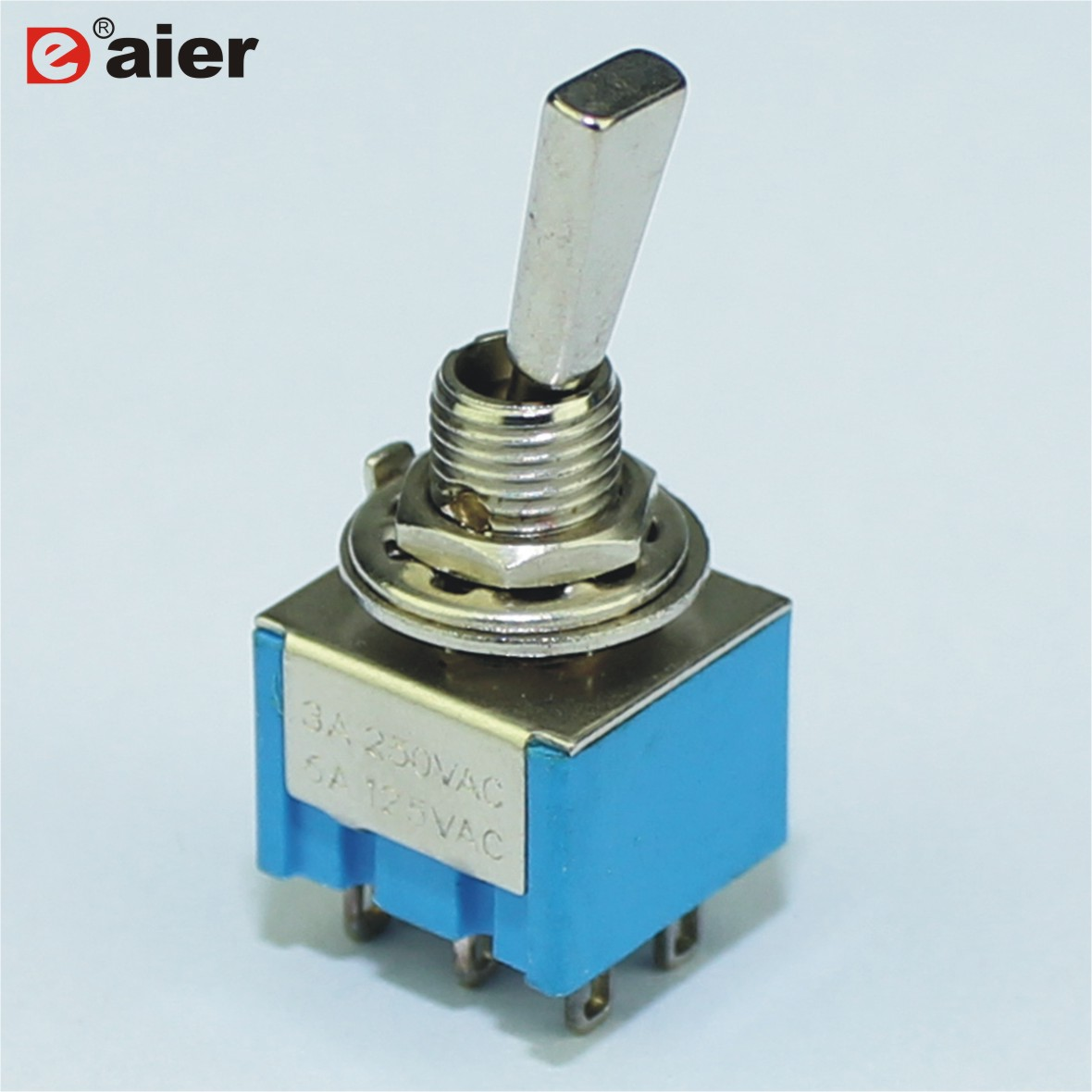 100PCS Miniature Toggle Switch 6A 125VAC 3A 250VAC ON OFF ON Switches 6 Pins DPDT Solder