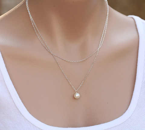 Summer Jewelry Fashion Simple simulated Pearl Necklace Long Tassel Pearl Beads Pendant necklace For Women