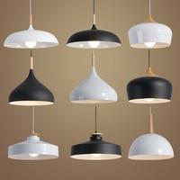 Nordic Pendant Lights Wood Aluminum Lampshade Industrial Lighting Loft Lamparas Dining Room Pendant Lamp E27 Light