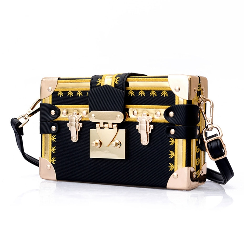 все цены на Women Box Bag Leather Shoulder Bags Crossbody Metal Lock Handbag Small Messenger Case