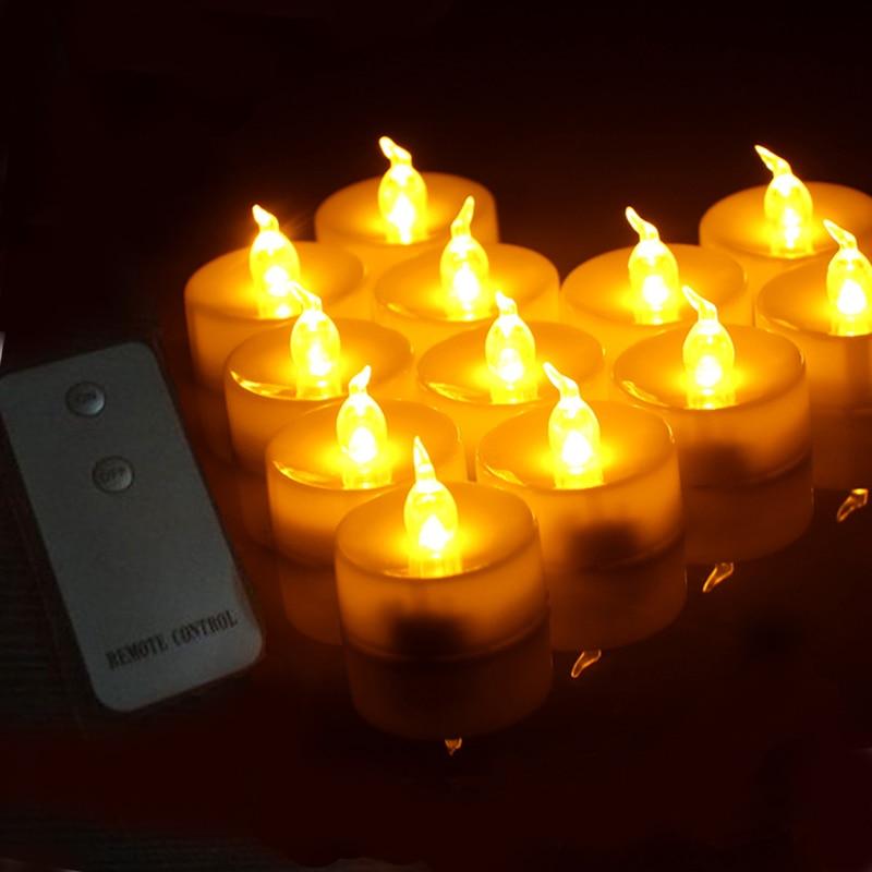 48 pcs Wireless Remote Control Flickering Flameless LED Tea light Flicker Tea Candle Light Party Wedding
